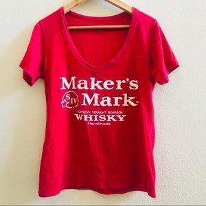 MAKERS MARK whisky red deep vneck T-shirt L